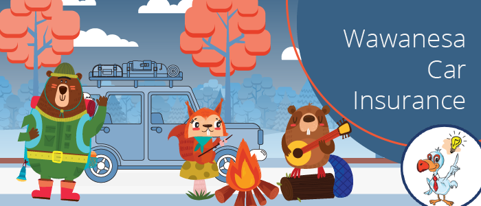 A bear, rabbit and beaver are playing music around a campfire with a blue banner that says Wawanesa Car Insurance
