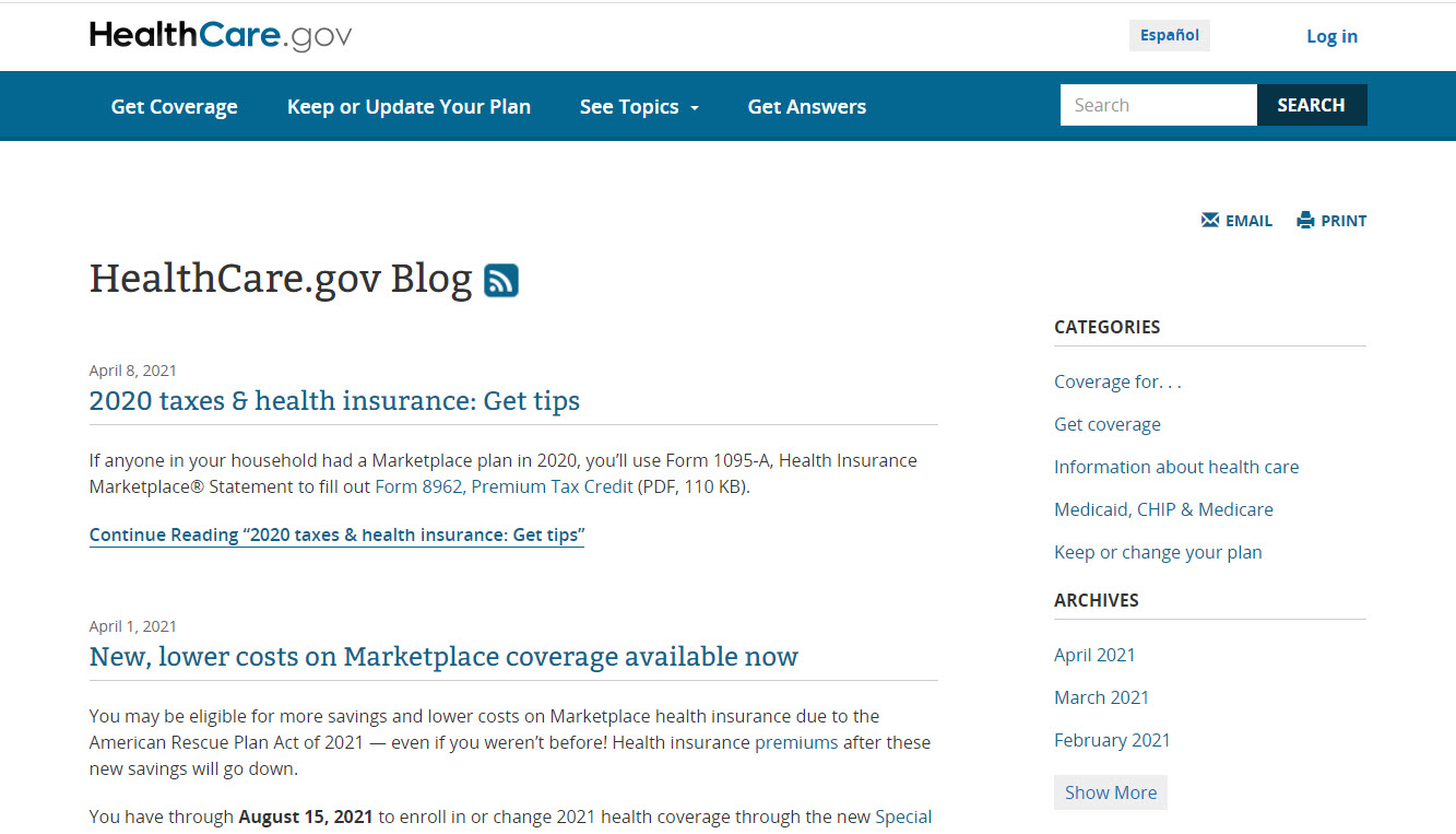 Healthcare.gov Example - One of Our Top 10 Health Insurance Blogs