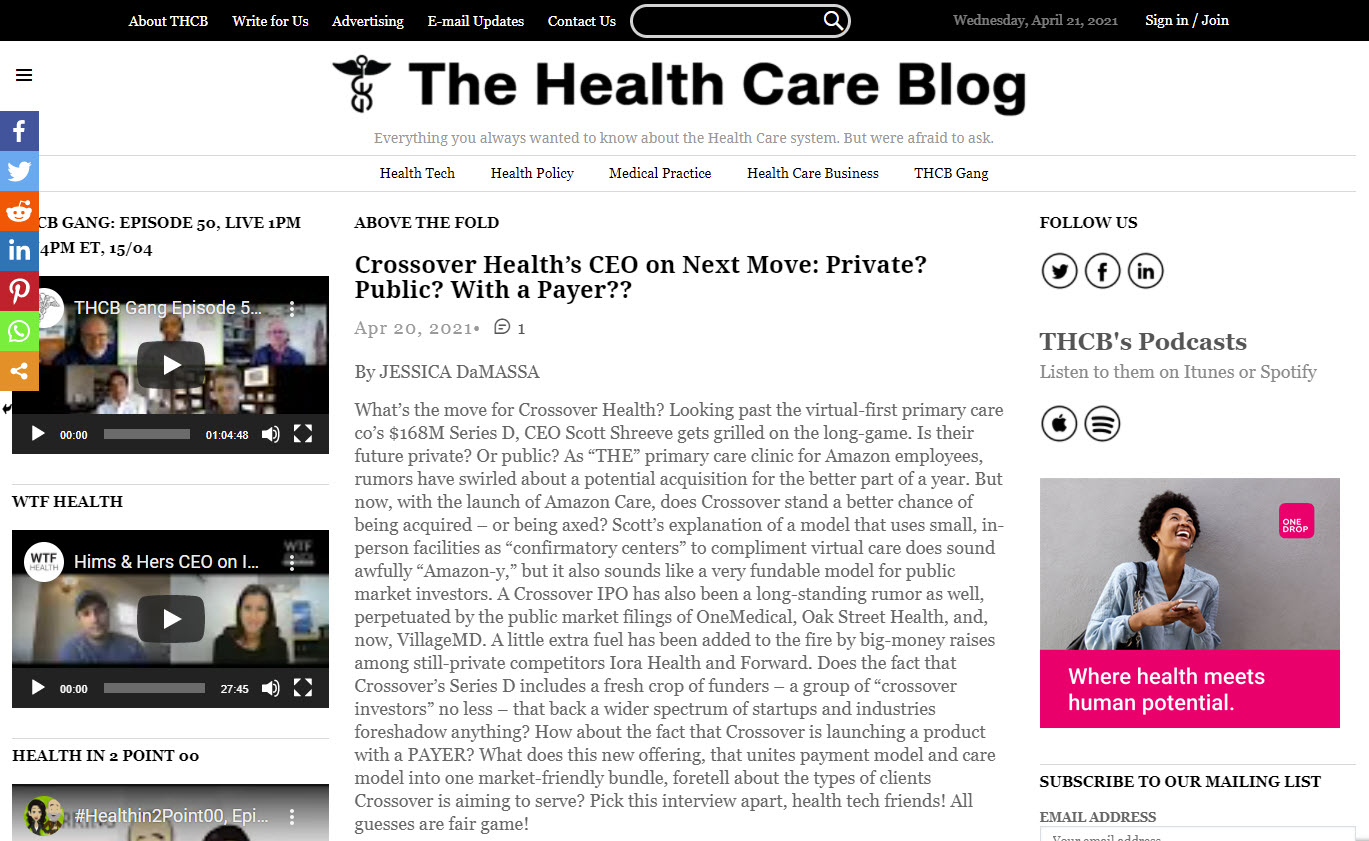 The Health Care Blog - One of Our Top Recommended Health Insurance Blogs